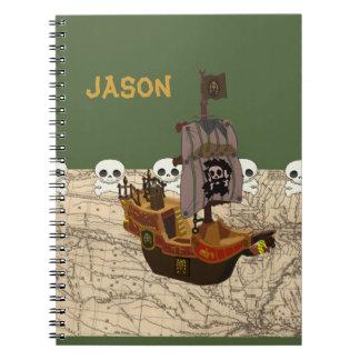 Barco pirata de la diversión, mapa y personalizaci libreta