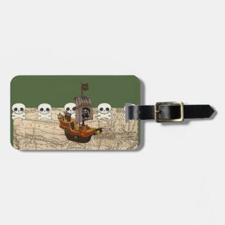 Barco pirata de la diversión, mapa y personalizaci etiquetas de equipaje