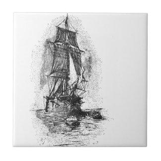 Barco pirata de la isla del tesoro azulejo cuadrado pequeño