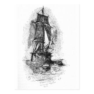 Barco pirata de la isla del tesoro postales