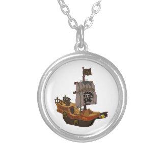 Barco pirata de madera colorido de lujo pendientes