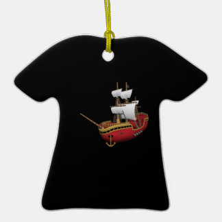 Barco pirata adorno de cerámica en forma de camiseta