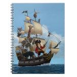 Barco pirata del animal del dibujo animado libretas espirales