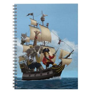 Barco pirata del animal del dibujo animado libros de apuntes