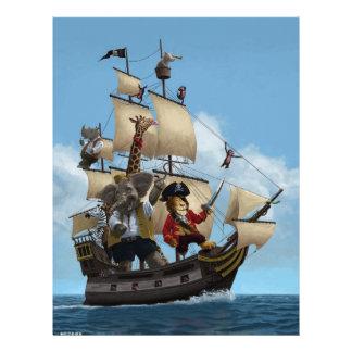 Barco pirata del animal del dibujo animado membretes personalizados