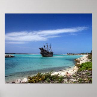 Barco pirata del Caribe Póster
