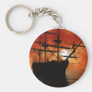 Barco pirata del vintage llavero redondo tipo pin