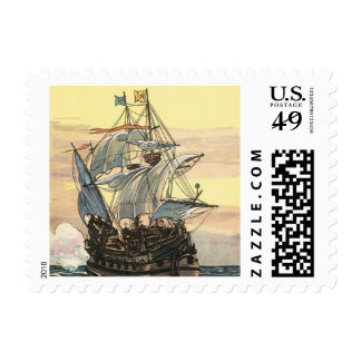 Barco pirata del vintage, navegación de Galleon en Estampilla