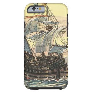 Barco pirata del vintage, navegación de Galleon en Funda De iPhone 6 Tough