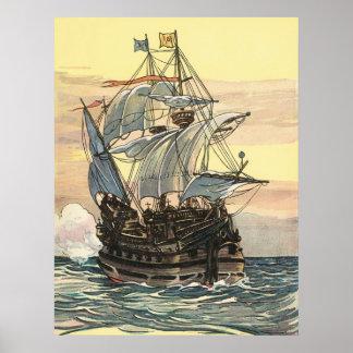 Barco pirata del vintage, navegación de Galleon en Póster