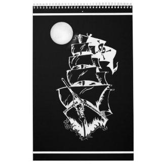 Barco pirata en los altos mares calendarios de pared