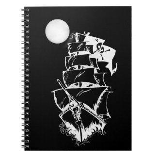 Barco pirata en los altos mares cuaderno