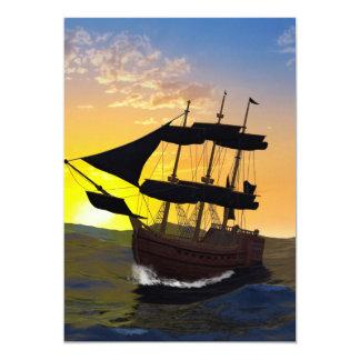 """Barco pirata en los altos mares invitación 5"""" x 7"""""""