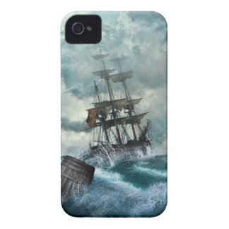 Barco pirata en una tormenta iPhone 4 Case-Mate carcasas