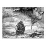 Barco pirata en una tormenta tarjeta postal