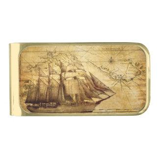 barco pirata envejecido y amarilleado clip para billetes dorado