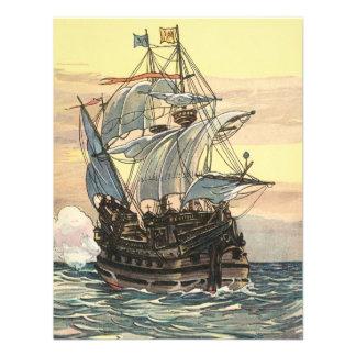 Barco pirata Galleon del vintage que navega el océ Invitacion Personalizada