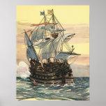 Barco pirata Galleon del vintage que navega el océ Posters