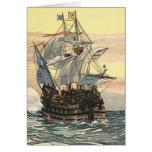 Barco pirata Galleon del vintage que navega el océ Felicitación