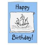 ¡Barco pirata Galleon! Tarjeta de cumpleaños azul.