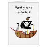 Barco pirata, gracias por mi presente tarjeta