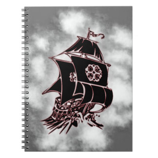Barco pirata náutico libros de apuntes con espiral