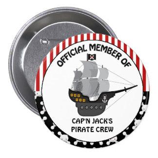 Barco pirata negro de los muchachos pin redondo de 3 pulgadas