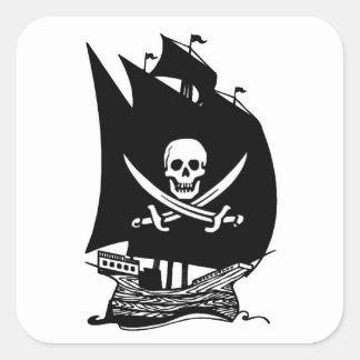 Barco pirata pegatina cuadradas personalizada