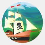 Barco pirata pegatinas redondas