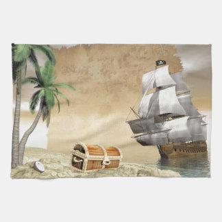 Barco pirata que descubre un tesoro toalla