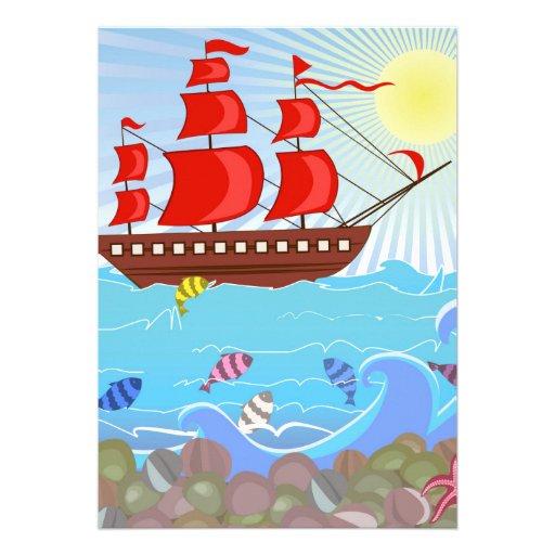Barco pirata rojo ilustrado invitaciones personalizada