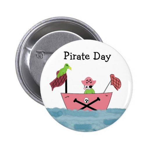 Barco pirata rosado pin redondo de 2 pulgadas