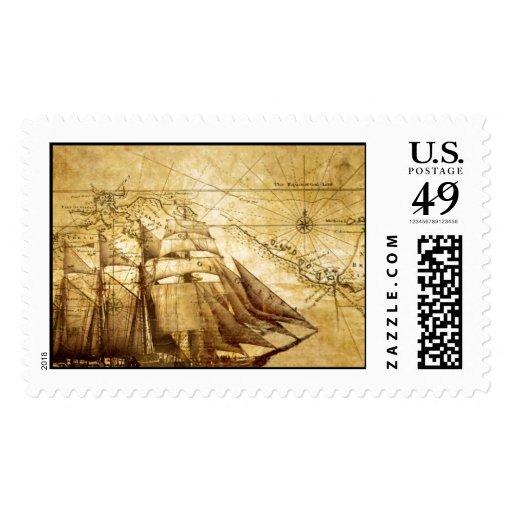 barco pirata sello postal