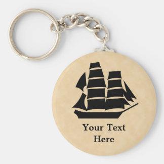 Barco pirata. Velero Llavero Redondo Tipo Pin