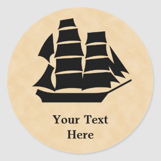 Barco pirata. Velero Pegatina Redonda