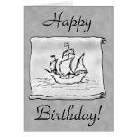 Barco pirata. Voluta gris. Tarjeta de cumpleaños.