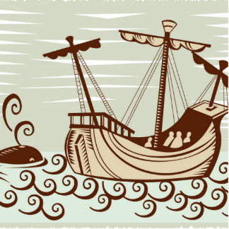 Barco pirata y ballena imán fotoescultura