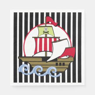 Barco pirata y rayas negras servilleta desechable