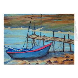 Barco por el embarcadero viejo tarjeta de felicitación