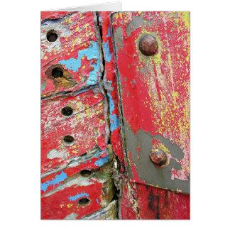 Barco rastreador viejo de decaimiento tarjeta de felicitación