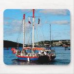 Barco rojo, blanco y azul en St Thomas Tapetes De Raton