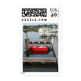 Barco rojo en Gloucester Sello