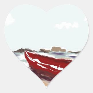 Barco rojo pegatina en forma de corazón