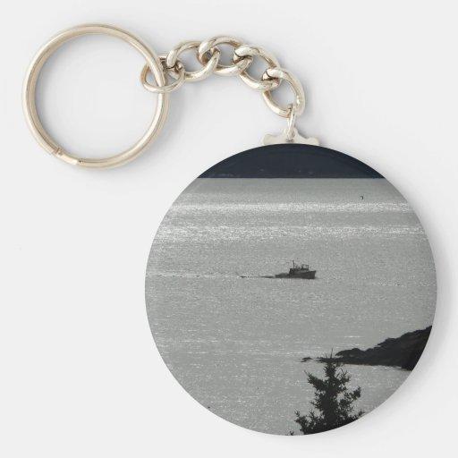 Barco solitario de la langosta llaveros