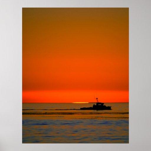 Barco solitario póster