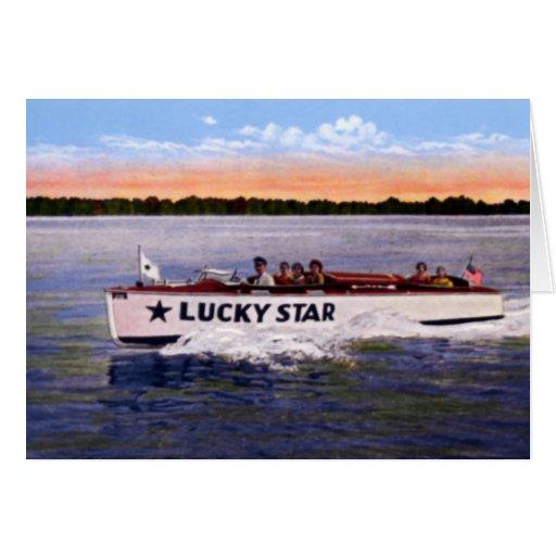 Barco turístico de la estrella de la suerte de Ohi Tarjeta De Felicitación