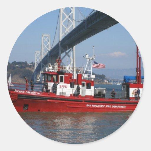 Barco uno del fuego - San Francisco Pegatina Redonda
