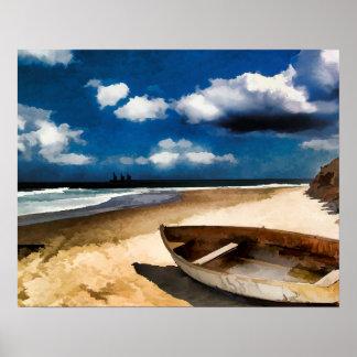 Barco varado antes de la tormenta póster