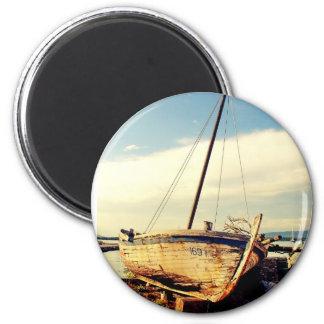 Barco viejo imán redondo 5 cm