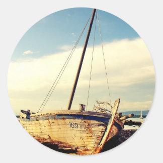 Barco viejo pegatina redonda